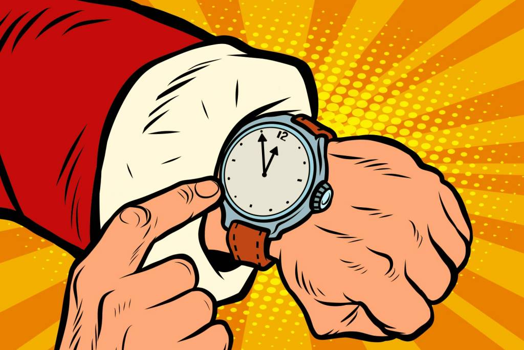Santa Claus shows the clock, nearly midnight